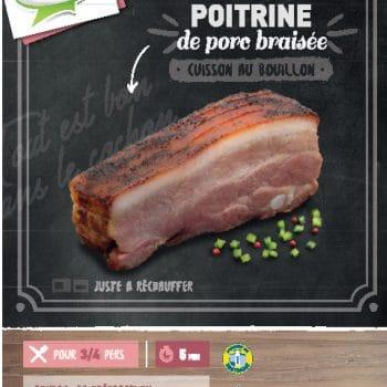 Poitrine de porc braisée, cuit au bouillon Clermont
